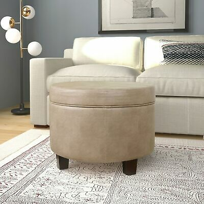 $105.29 • Buy HomePop Round Faux Leather Storage Ottoman - Taupe Taupe Medium
