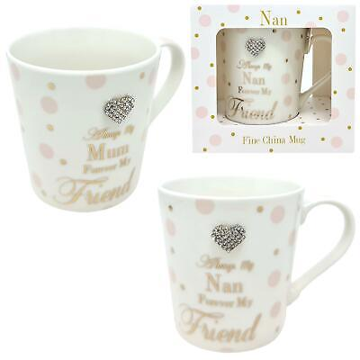 Always My Mum Nan Grandma Forever My Friend China Mug Pink White Dots Gift Boxed • 8.25£