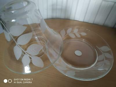 Yankee Candle  Large Glass 'ivy' Design Etched Shade & Plate Set In Perfect Cond • 20£