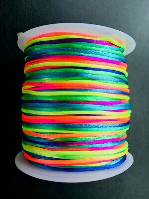 Shiny Rainbow Cord For Crafting (Neon, Fluorescent)  1mm, Rattail, Shamballa • 0.99£