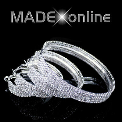Large Chunky Bling Hoop Earrings, Big Wide Sparkle   Small Diamante Stones   • 5.99£