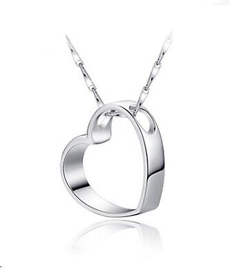 £3.15 • Buy Hollow Heart Pendant Necklace 925 Sterling Silver Women's Jewellery Love Gift