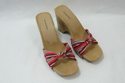 $19.79 • Buy Amanda Smith Shoes Striped Wedge Sandals Size 10 New Vintage