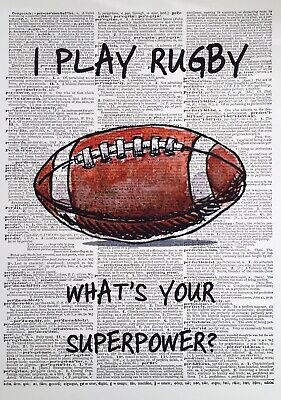 £12 • Buy A3 Rugby Quote Print Dictionary Wall Art Picture Superpower Gift Fathers Day