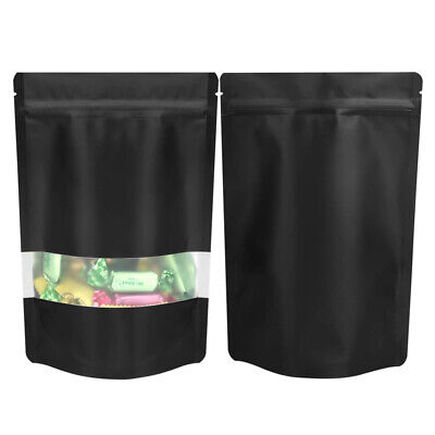 Window Black Matt Stand Up Pouches Mylar Foil Bag Heat Seal Food Grade Zipper • 14.15£