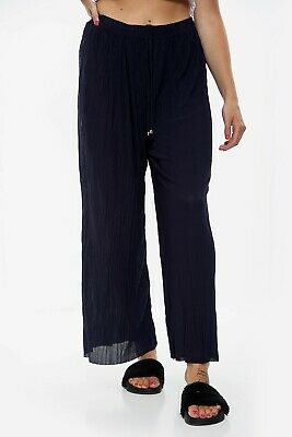£5.99 • Buy Ladies Culottes Trousers Wide Leg Harem Pleated Crinkle Holiday Long Length New