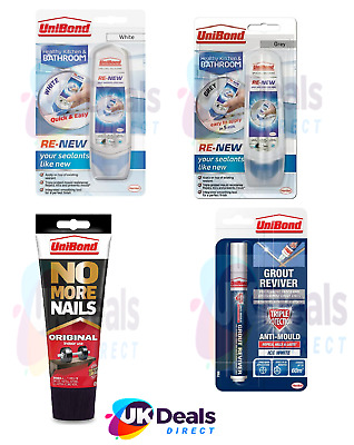 UniBond RE NEW White Silicone Sealant Kitchen & Bath Or Grout Pen - White / Grey • 6.25£