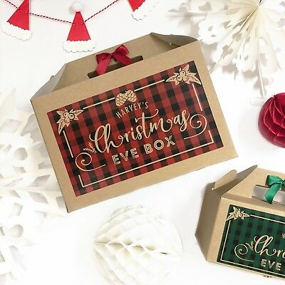 Personalised Christmas Eve Box | Plaid | Xmas Favour Present Gift Bag • 4.75£