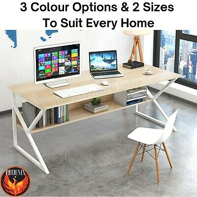 AU186.83 • Buy Computer Desk  Study Home Office Table Student White Metal Workstation Storage