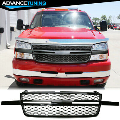 $138 • Buy Fits 05-07 Chevy Silverado 1500 2500HD 3500 Front Upper Grille Gloss Black