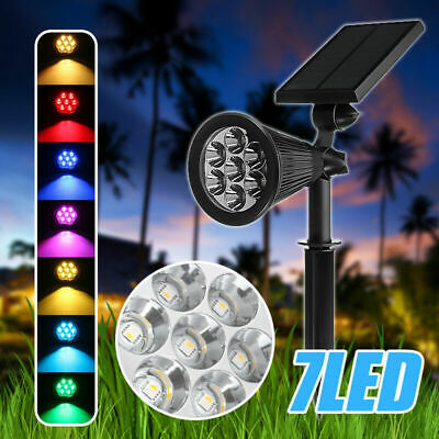 7 LED Solar Spot Light Color Changing Wall Outdoor Garden Yard Lamp Waterproof • 13.99£