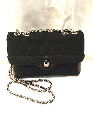 Russell Bromley Sm Bag Black Patent Leather & Quilted W Chain Vintage Lovely! • 95£