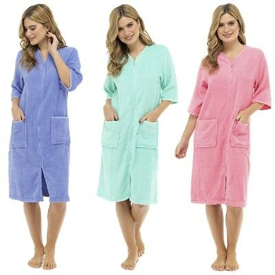Ladies / Womens Cotton Terry Zip Front Dressing Gown  Bathrobe  Housecoat  Robe • 22.99£