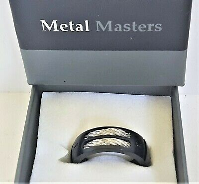 $15.99 • Buy Men's Size 8.25 X 8MM Band Ring Metal Masters Black Titanium Stainless Cables