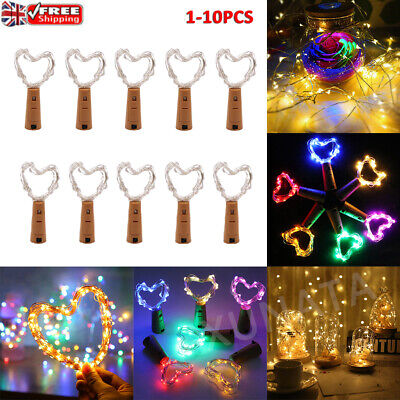 20 LED Bottle Fairy String Lights Battery Cork Shaped Xmas Wedding Party Decor • 3.69£