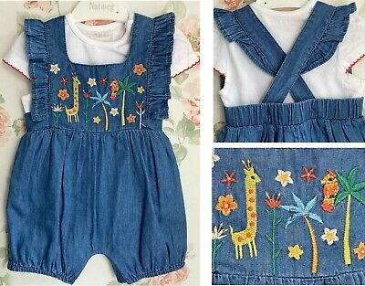 New Baby Girls Summer Denim Giraffe Playsuit Romper Dungarees Top Set Outfit  • 5.95£