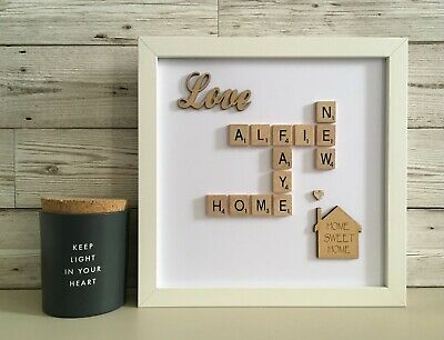 (b) Scrabble Picture Box Frame White/Black/Wood Word Art Personalised House • 26£