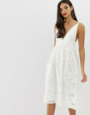 AU30 • Buy ASOS DESIGN Prom Midi Dress With Plunge Neck In Corded Lace (Size 12)