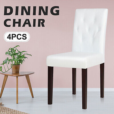 AU219.90 • Buy Set Of 4 Dining Chairs Retro Velvet Chair Lounge Tufted Backrest Leather Wood