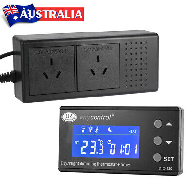 AU45.61 • Buy LCD Digital Reptile Thermostat PID Fish Tank Day & Night Dimming With Timer Heat