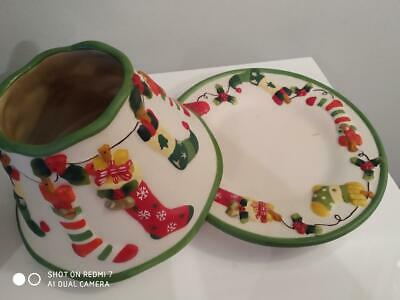 £25 • Buy Yankee Candle Lge 'christmas' Design Shade & Plate Set With Matching Small Shade