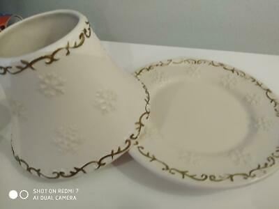 Yankee Candle Small 'sparkling Snow' Shade & Plate Set - Perfect Condition • 15£