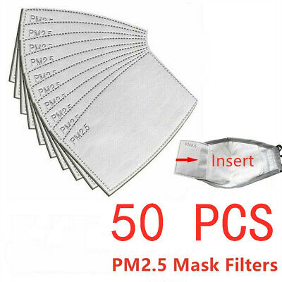 50pcs Face Mask PM2.5 Activated Carbon Filter Replace Breath Insert Mask Filter • 7.69£