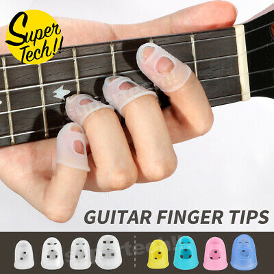 AU4.95 • Buy Guitar Ukulele Piano Fingertip Protectors Silicone Finger Guards Set Of 4 NEW AU
