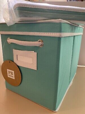 $40 • Buy NEW POTTERY BARN TEEN MED POOL TURQUOISE Canvas Storage Bin With Lid SET Of 2