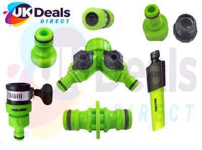 Garden Hose Attachments Nozzle, Tap End, Water Stop Connector 2way Tap Adaptor • 5.25£