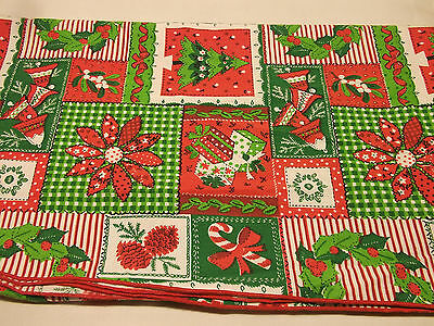 $ CDN13.47 • Buy Vintage Country Cottage Christmas Folk Art TABLECLOTH Gingham Patchwork 84x58