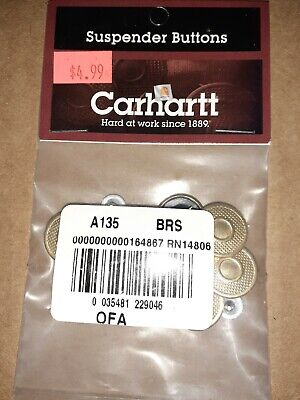 $6.99 • Buy New Package Of 8 Brass Original Genuine Carhartt Suspender Buttons A135 BRS