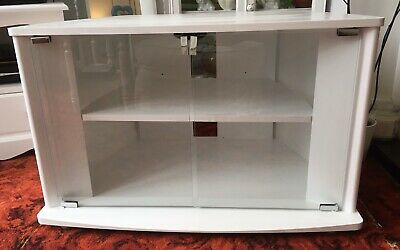 Tv/dvd Cabinet/stand With Toughened Safety Glass Doors Refurbished Shabby Chic • 49.99£
