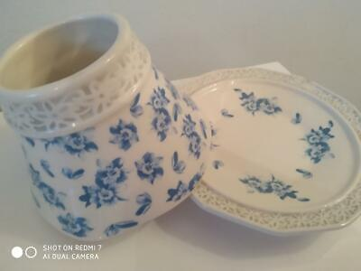 Yankee Candle Small Vintage Blue & White Floral Shade & Plate Set • 17£