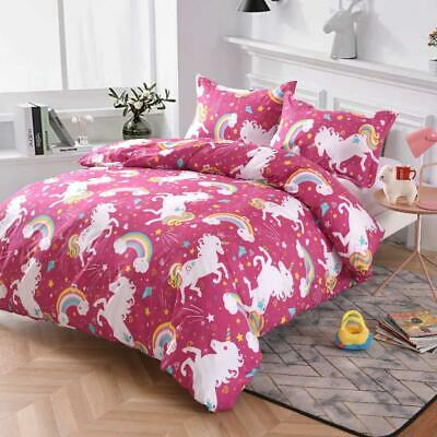 AU29 • Buy Single/KS/Double/Queen/King/Super K Soft Quilt/Duvet Cover Set-Rainbow Unicorn