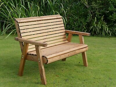 £159.99 • Buy 2 Seater Person Wooden Garden Bench Luxury Love Seat Chair Patio Set Treated New