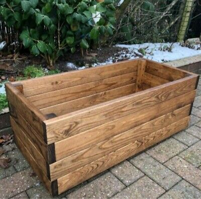£51.99 • Buy 1 3ft Quality Trough Rectangle Wooden Garden Planter Extra Large Raised Bed Pot