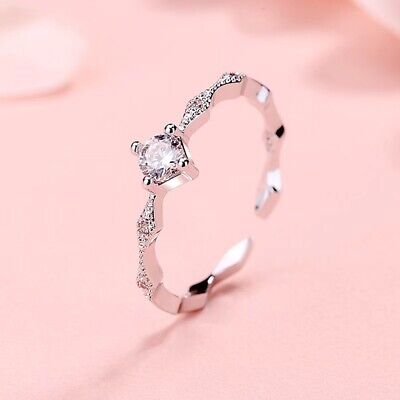 Crystal Stone Adjustable End Ring 925 Sterling Silver Womens Ladies New Gift • 3.09£