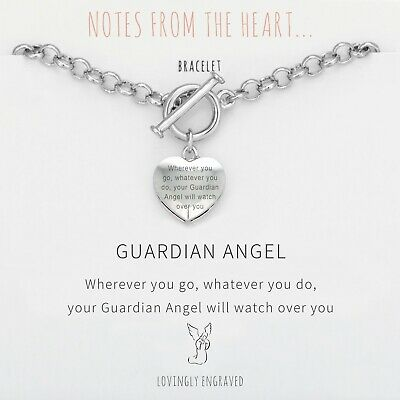 Guardian Angel Silver Heart T Bar Bracelet Sentiment Engraved + Gift Bag • 18.99£