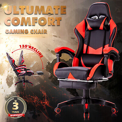 AU152.90 • Buy Gaming Office Chair Executive Computer Seating Racing PU Recliner W/Footrest
