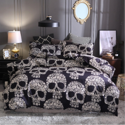 3D Skull Duvet Cover Pillow Cases Single Double King Size Gothic Bedding Set UK • 33.99£