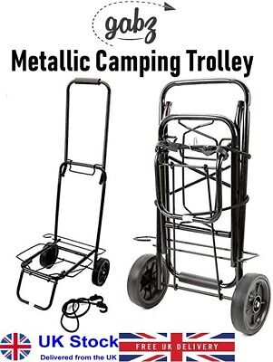 GABZ Fold-able Metallic Luggage Carrier Cart Travelling Festival Camping Trolley • 13.99£