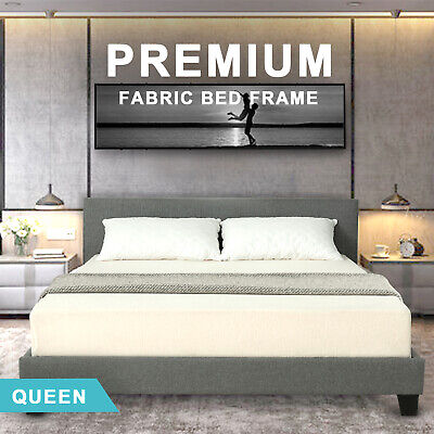 AU179.90 • Buy Advwin Queen Bed Frame Timber Mattress Fabric Base Platform Bedroom Furniture