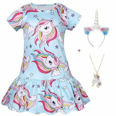 Kids Dress For Girls Clothes Unicorn Princess Party Dress Printed Clothes 2021 • 7.06£