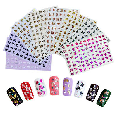 Nail Art Sticker 3D Retro English Alphabet Foil Laser Decals Manicure Decoration • 1.69£