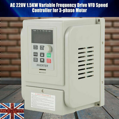 1.5KW Single To 3 Phase VFD Variable Frequency Drive Inverter Speed Converter UK • 58.97£