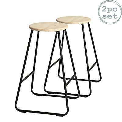 2x Wooden Bar Stools Breakfast Kitchen Island Counter Dining Chair Black / Pine • 36.99£