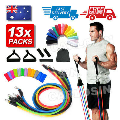 AU20.95 • Buy 13 PCS Resistance Band Set Yoga Pilates Abs Exercise Fitness Tube Workout Bands