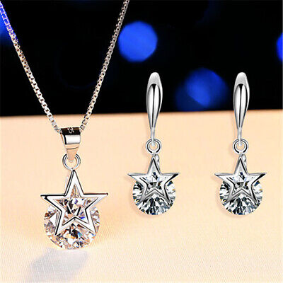 £4.85 • Buy Crystal Star Pendant Necklace And Earrings 925 Sterling Silver Women's Gift Set
