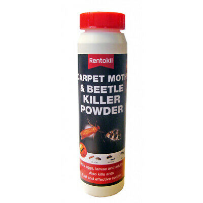 Rentokil Carpet Moth & Beetle Killer Powder Kills Eggs, Larvae & Adults 150g • 7.99£